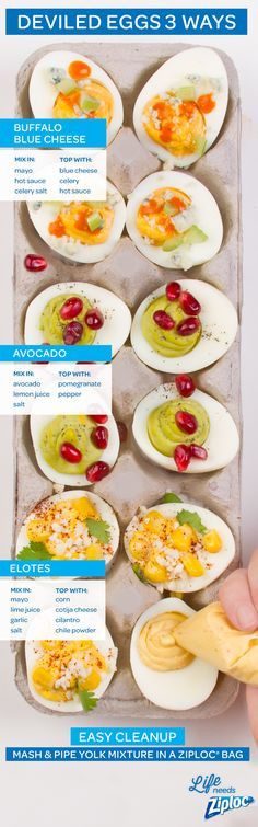 Try a twist on your best, classic deviled egg recipe: buffalo blue cheese, avocado with pomegranate or Mexican street corn-inspired elotes. For easy cleanup, mix the filling ingredients with yolks in a Ziploc® bag, then snip the corner and use as a piping bag. It's a technique kids can help with, too. If you're looking for creative picnic food ideas to bring to a Memorial Day or Fourth of July potluck, try these fun recipes.