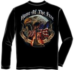 Erazor Bits Long Sleeve T-shirt - Home Of The Free Because Of The Brave - Black