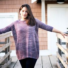 Drop shoulder construction is taken to the extreme in this oversized, flowing pullover. Skinny three-quarter length sleeves give a contemporary look. Hand Knitting, Knitting Patterns, Bind Off, Knit In The Round, Stockinette, Yarn Crafts, Turtle Neck, Pullover, Skinny