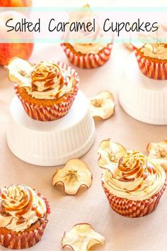 Got a sweet tooth? These salted caramel cupcakes are a dream come true. The slightly tart apple cake is the perfect match for the sweet and salty caramel sauce. #vegetarian #cupcakes #caramel #dessert