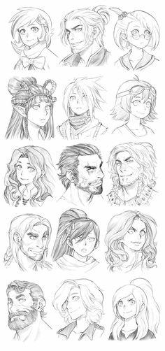 151002 - Headshot Commissions Sketch Dump 6 by Runshin on DeviantArt Manga Drawing, Drawing Sketches, Art Drawings, Drawing Art, Drawing Faces, Drawing Skills, Drawing Reference, Drawing Tips, Drawing Stuff