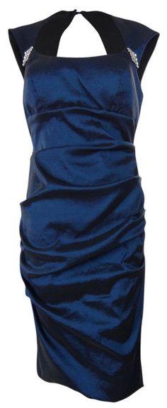 Xscape Women's Embellished Ruched Taffeta Dress