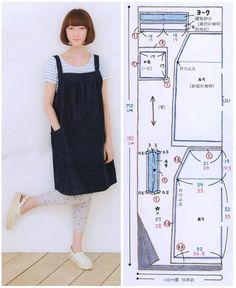 Amazing Sewing Patterns Clone Your Clothes Ideas. Enchanting Sewing Patterns Clone Your Clothes Ideas. Japanese Sewing Patterns, Dress Sewing Patterns, Sewing Patterns Free, Clothing Patterns, Sewing Aprons, Sewing Clothes, Diy Clothes, Apron Dress, Diy Dress