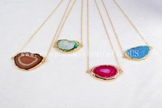 Dyed Color Onyx Druzy Slice Necklace Gold Plated by aliceUS