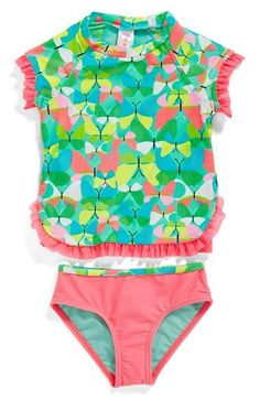 Hula Star 'Butterflies' Two-Piece Rashguard Swimsuit (Toddler Girls & Little Girls) available at #Nordstrom