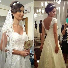 Beautiful Cap Sleeves Open Back Backless Lace Applique Hand Beading Pearl A-Line Wedding Dress/Bridal Dress/Wedding Gowns/Vestido de noiva