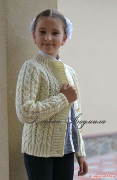 Knitted jacket on buttons - Knitting - the Country of Mothers Knitting For Kids, Crochet For Kids, Free Knitting, Baby Knitting, Knit Crochet, Aran Knitting Patterns, Baby Cardigan Knitting Pattern, Knitting Designs, Knit Baby Sweaters