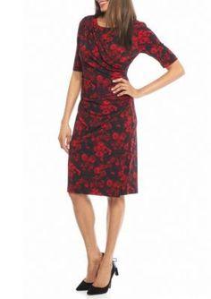 Connected Apparel RedBlack Printed Jersey Wrap Dress