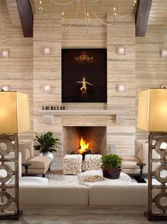 Contemporary Living Room With Travertine Accent Wall | HGTV