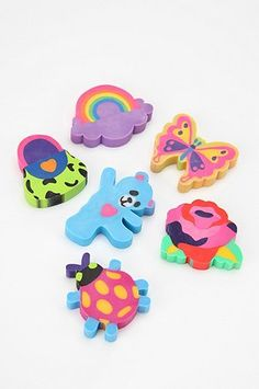 Collecting these erasers was the best part of being a Lisa Frank fan! I'm pretty sure I had every eraser that ever came out by her! 90s Childhood, My Childhood Memories, Childhood Games, 90s Girl, 90s Toys, Lisa Frank, Barbie, Vintage Toys, Retro Toys