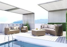 venezia sedacia suprava z umeleho ratanu pieskova  3 Outdoor Garden Furniture, Outdoor Decor, Backyard Fences, Sun Lounger, Rattan, Sofa, Praha, Design, Home Decor