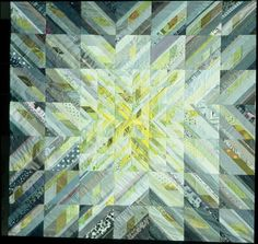 Sunstar, 203 x 203 cm Ursula Kern Batik Quilts, Scrappy Quilts, Quilting Projects, Quilting Designs, Ursula, Watercolor Quilt, Modern Quilt Blocks, Scrap Quilt Patterns, Geometric Quilt