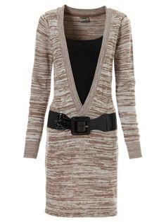 Rochie tricotata Rainbow maro ecru decolteu V Violet, Rainbow, Blazer, Polyvore, Sweaters, Jackets, Fashion, Dress Collection, Plus Size