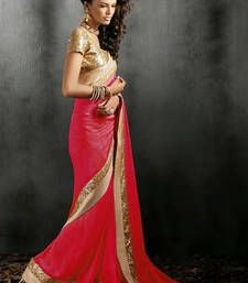 Buy red embroidered georgette saree With Blouse party-wear-saree online
