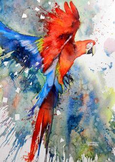 Scarlet Macaw watercolour painting by Gerard Hendricks - Animal / Wildlife art. Watercolor Art Paintings, Watercolor Bird, Watercolor Animals, Animal Paintings, Painting & Drawing, Parrot Painting, Bird Paintings, Silk Painting, Watercolors