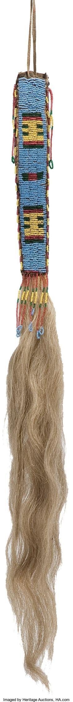 Lakota beaded hair drop