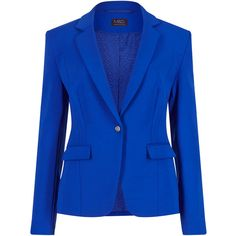 4-Way Stretch Notch Lapel 1 Button Blazer M&S ($92) ❤ liked on Polyvore featuring outerwear, jackets, blazers, one button blazer, stretch blazer, one button jacket, blue blazer and single button blazer