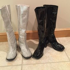 High Silver and Black Patent Leather Boot High silver glitter and black patent leather platform boot. Both worn one time each for dance performance. Willing to sell together or separate. Best offer welcome!! The silver pair has a white elastic inset to allow stretch for a wider calf. Shoes Heeled Boots