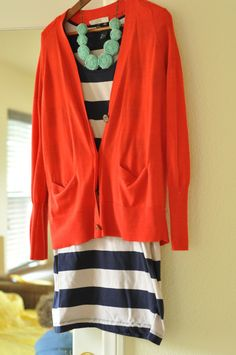 Bold stripes and coral and mint