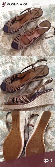 """ETIENNE AIGNER BRONZE/GOLD WEDGE SANDALS 7 1/2M These adorable sandals are like new. One small scratch on inside but not cut through at all. Approx 3"""" wedge. Cute as can be! Adjustable straps. No box. Etienne Aigner Shoes Wedges"""