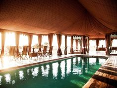 For stylish adventurers. Ten tents with muslin-draped walls, Persian rugs, and Bedouin furnishings epitomize old-world safari glamour at this exquisite escape in the Makgadikgadi Pans of the Kalahari Basin. Guided game drives provide glimpses of rare residents like brown hyaenas and black-maned Kalahari lions, while traditional afternoon tea and elegant candlelit dinners transport guests back in time.