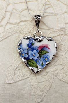 Your place to buy and sell all things handmade Broken China Crafts, Broken China Jewelry, Heart Jewelry, Glass Jewelry, Beaded Jewelry, Tattoos Skull, Valentines Day Hearts, Heart Pendant Necklace, Jewelry Making