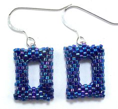 Blue Rectangle Delica Seed Bead Earrings by SleeplessArt on Etsy