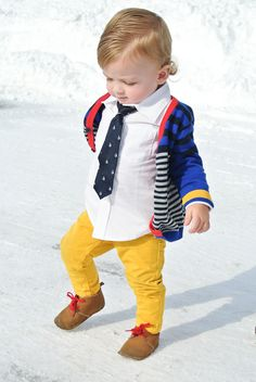 Hanes' outfit:  Cardigan - H | Button up - Gap  | Tie - Children's Place | Pants - H | Shoes - Old Navy