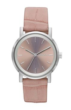 Free shipping and returns on DKNY 'Soho' Round Leather Strap Watch, 34mm at Nordstrom.com. Beveled indexes orbit the cleanly brushed, logoed dial featuring three-hand time for this polished watch. The comfortable croc-embossed leather band furthers the rich visual dimension of the design.