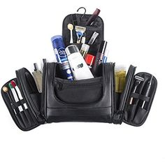 Beschan Extra Large PU Leather Hanging Travel Toiletry Bag Transparent Organizer Dopp Kit for Men for Woman (Black) *** Click image for more details. (This is an affiliate link) #ToolsAccessories