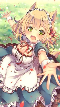 Blonde anime animal girl with bright green eyes and a cheerful smile