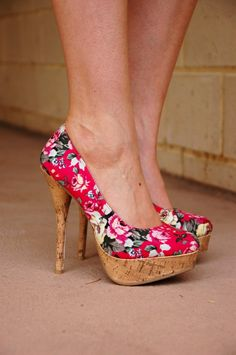 My Sister's Wardrobe part one - pink floral pumps with cork   Extraordinary Days