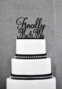 FINALLY #MrAndMrsWeddingCakeTopper Script #FinallyMrMrsCakeTopper https://www.etsy.com/listing/257965846/finally-mr-and-mrs-wedding-cake-topper?ref=shop_home_active_22