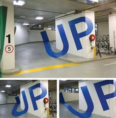 The optical illusions were painted on the walls of the carpark in the Eureka Tower, in Australia, by designer Axel Peemoeller to help motorists find their way around the parking lot. Park Signage, Directional Signage, Wayfinding Signs, Environmental Graphic Design, Environmental Graphics, Design Despace, Stand Design, Booth Design, Eureka Tower