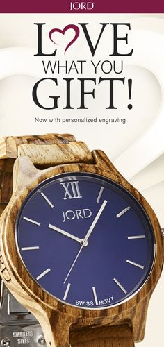 Surprise your Valentine with a thoughtful and timeless gift - a natural wood watch from JORD! Customize it with engraving, classic block, script, or even your own handwriting. Free shipping worldwide!