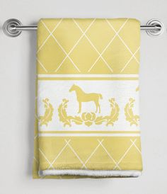 Yellow Damask Horse Equestrian Bath Towel - The Painting Pony