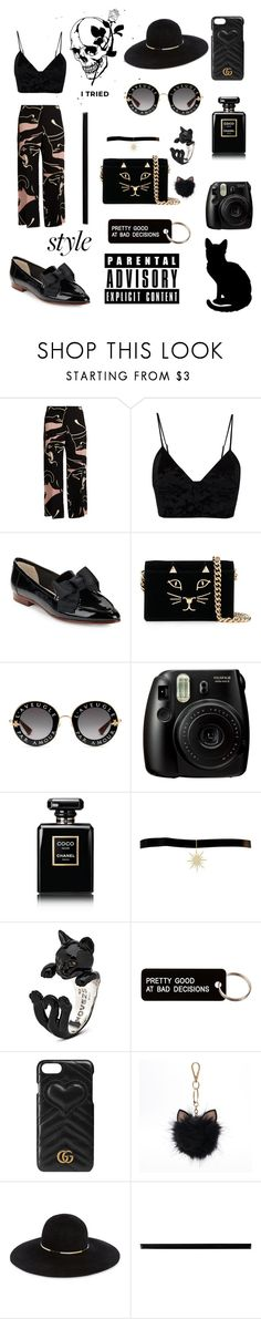"""""""#55 Black Cat"""" by iridescent-youth ❤ liked on Polyvore featuring Valentino, Fleur du Mal, Kate Spade, Charlotte Olympia, Gucci, Fujifilm, Chanel, Talia Naomi, Various Projects and LC Lauren Conrad"""