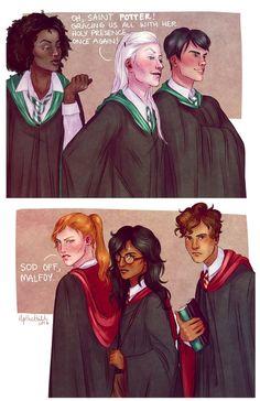 Lol bby Hermione giving death glare Fanart Harry Potter, Harry Potter Comics, Harry James Potter, Harry Potter Marauders, Harry Potter Ships, Harry Potter Universal, Harry Potter Memes, Harry Potter World, Hermione