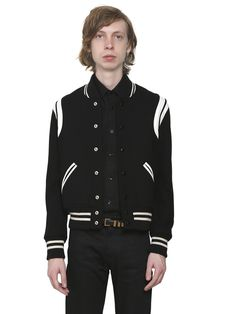 SAINT LAURENT TEDDY WOOL JACKET W  STRIPED DETAILS.  saintlaurent  cloth d1cefd73b46d
