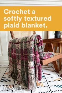 Plaid Crochet, Crochet Quilt, Afghan Crochet Patterns, Crochet Home, Knit Or Crochet, Crochet Crafts, Crochet Stitches, Crochet Projects, Mandala Crochet