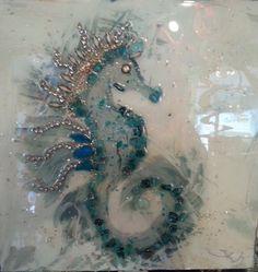Sharon Kator Broken Glass Art, Shattered Glass, Sea Glass Art, Stained Glass Art, Smash Glass, Seahorse Art, Seahorses, Glass Art Design, Crushed Glass