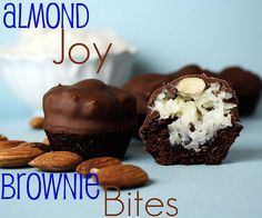 Almond Joy Brownie Bites — Mini Brownies with Coconut Filling and an almond, dipped in chocolate. One of my favorite party desserts! Almond Joy Brownie Bites — Mini Brownies with… Just Desserts, Delicious Desserts, Dessert Recipes, Yummy Food, Party Desserts, Dessert Healthy, Recipes Dinner, Breakfast Recipes, Mini Brownie Bites