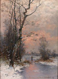 Winterliche Landschaft mit zugefrorenem Altwasser und Figurenstaffage, Johann Jungblut. Germany (1860 - 1912)