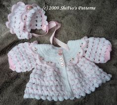 Baby Crochet Pattern Matinee Jacket Hat Crochet Pattern by shifio, $3.99