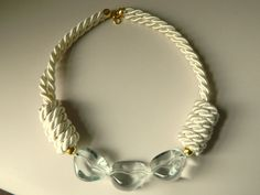 Crisp and Clear Sailor Knot Necklace with Chunky Beads, Ivory, Chunky Necklace, Statement necklace, Nautical Necklace. $25.00, via Etsy.
