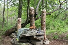 Stone Atlar is Complete, God Poles in Soil! Norse Pagan, Wiccan, Witchcraft, Sacred Groves, Pagan Altar, Home Altar, Asatru, Forest Garden, Wind And Rain