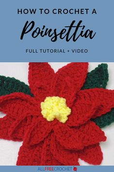 How to Crochet a Poinsettia Christmas will be here before we know it. Learn How to Crochet a Poinsettia with this video and stepped out tutorial. It can be used alone or as an embellishment on practically anything. Crochet Wreath, Crochet Bows, All Free Crochet, Crochet Gifts, Crochet Ornaments, Crochet Snowflakes, Xmas Ornaments, Diy Crochet, Crochet Christmas Decorations