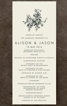 Elegance illustrated unique wedding menu design from minted.com - wedding inspiration
