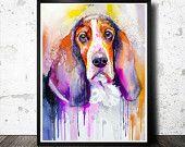 Basset dog watercolor painting print, animal, illustration, animal watercolor, animals, portrait, dog watercolor