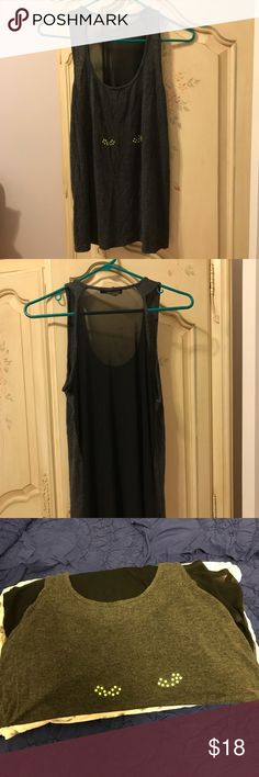 Just In🌲Double Zero Fittness Top Wonderful Fittness Top by Double zero also great for concert venues-back is sheer front has green dot bows -u neck long a line style great with exercise or bandeau bra underneath Double Zero Tops
